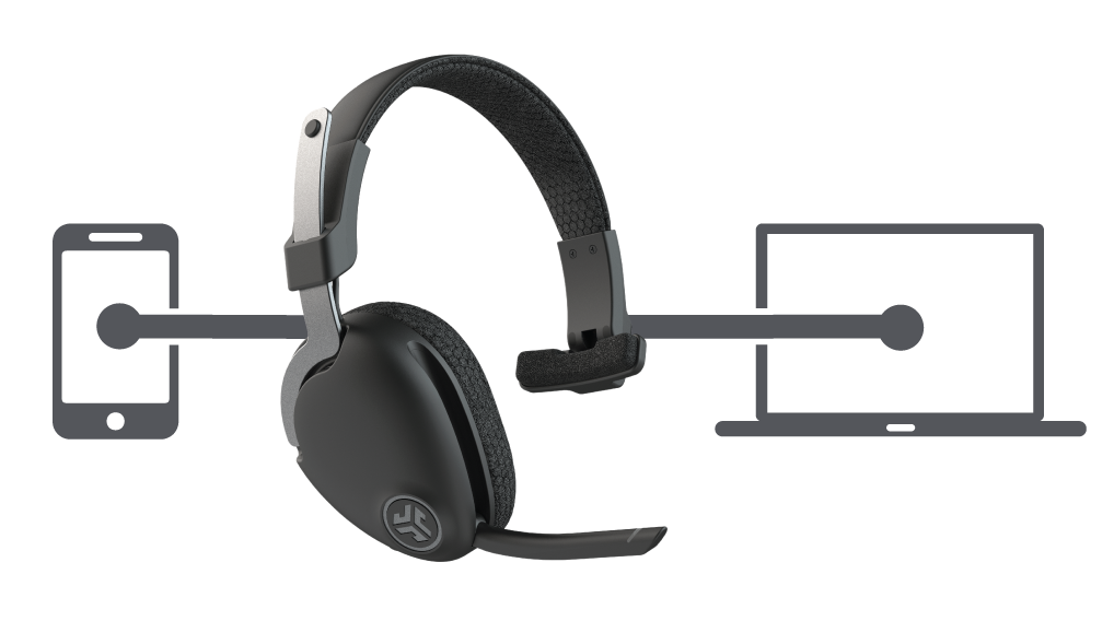Infographic showing JBuds Work Wireless Over-Ear Headset connected to cell phone and laptop simultaneously