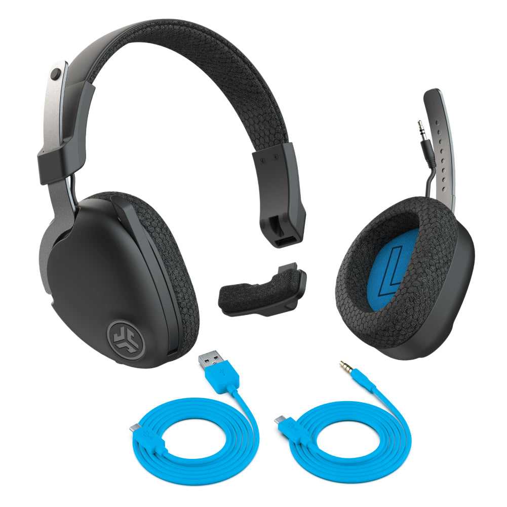 JBuds Work Wireless Over-Ear Headset with included Type-C Charging Cable and Type-C to 3.5mm AUX Cable