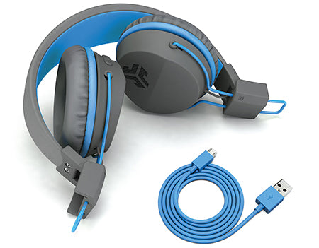 Folded JBuddies Studio Bluetooth Over Ear Headphones in Blue with Charging Cable