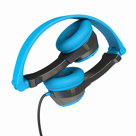Gray and Blue Folded JBuddies Headphones