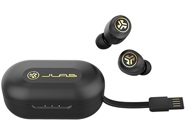 JBuds Air Icon Earbuds with Charging Case and Integrated USB Charging Cable
