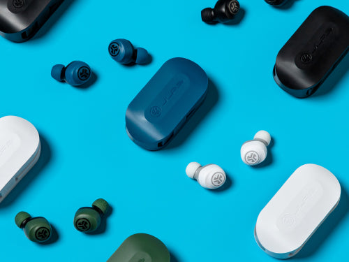 flat lay photo of JLab GO Air earbuds