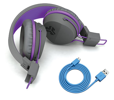 Neon Bluetooth Wireless On-Ear Headphones dobrado em roxo