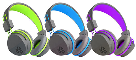 Neon Bluetooth Wireless On-Ear Headphones in green, blue, purple