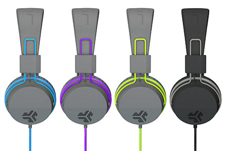 Neon On-Ear Headphones en azul, morado, verde y negro