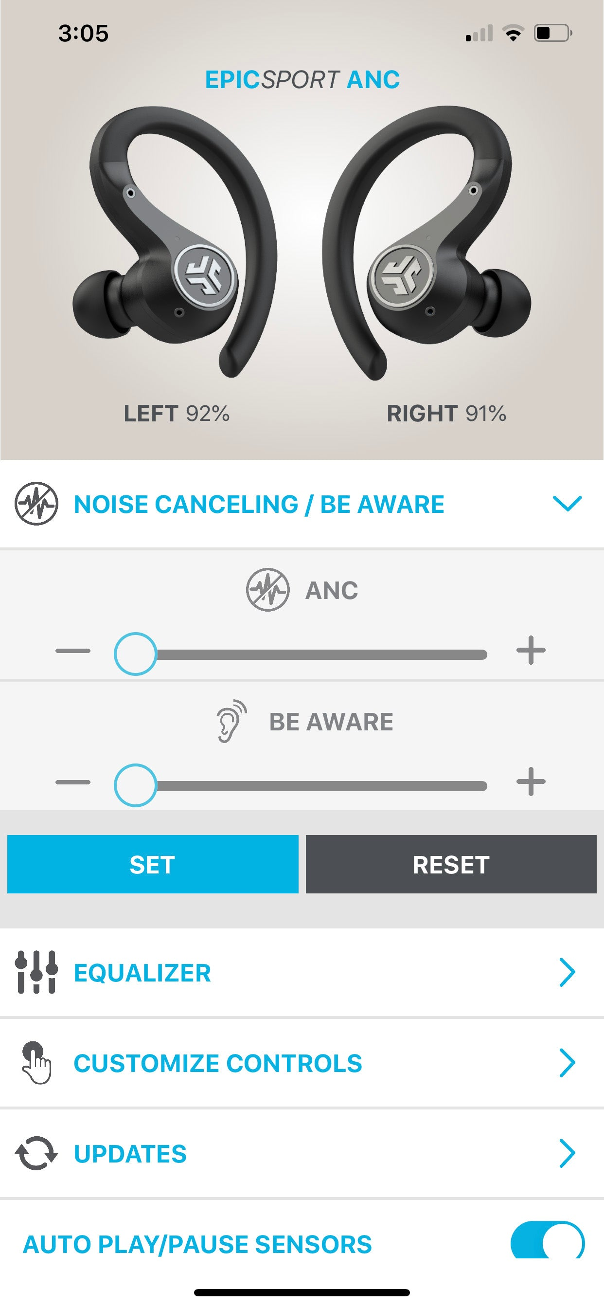 Screenshot of app showing ANC and Be Aware increase/decrease toggling