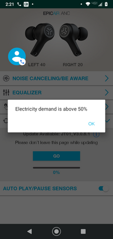 Screenshot of app stating Electricity demand is over 50%