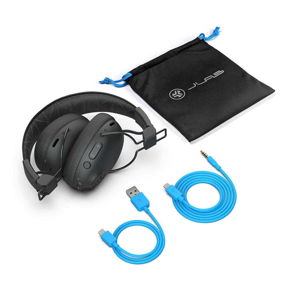 Studio Pro ANC Wireless Headphones with accessory cables and travel bag
