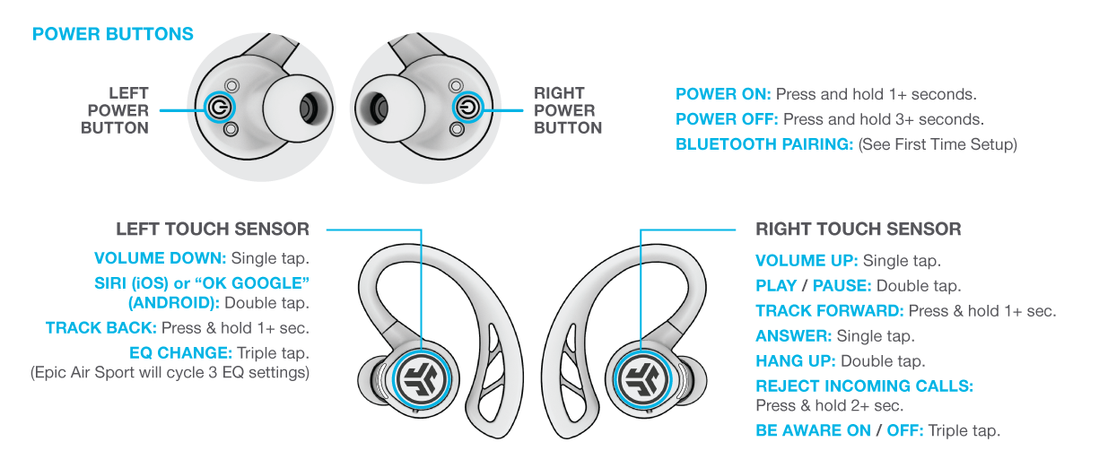 Controls for your Epic Air Sport
