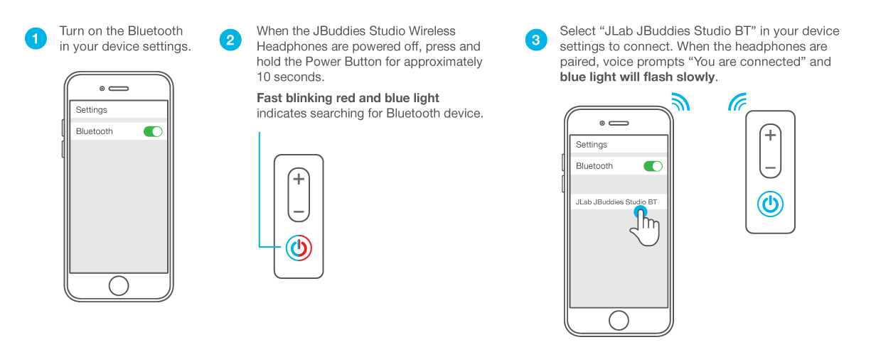 How to Pair JBuddies Studio Wireless Headphones