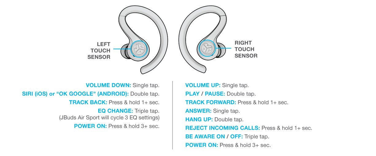 Controls for your JBuds Air Sport
