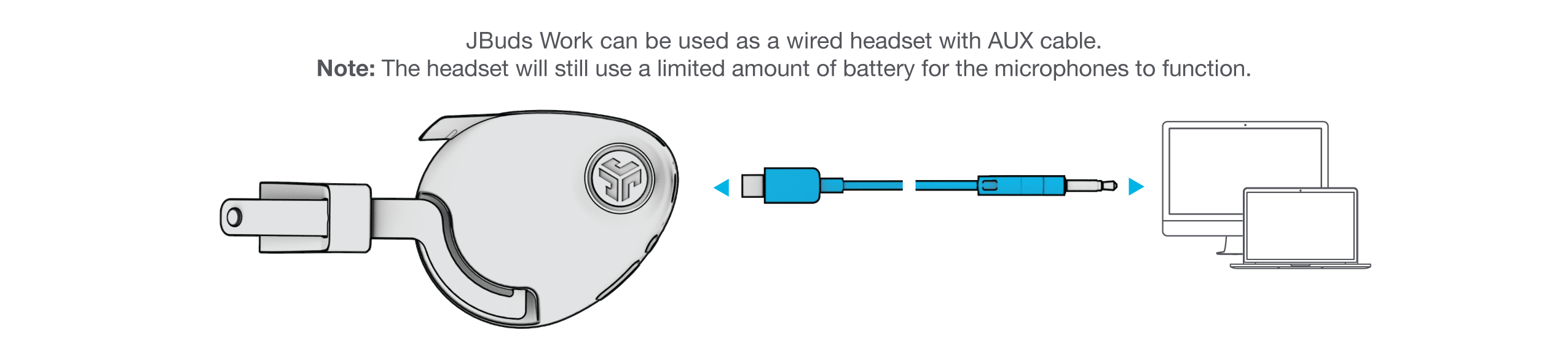 How to plug in AUX cable for JBuds Work Wireless Over-Ear Headset