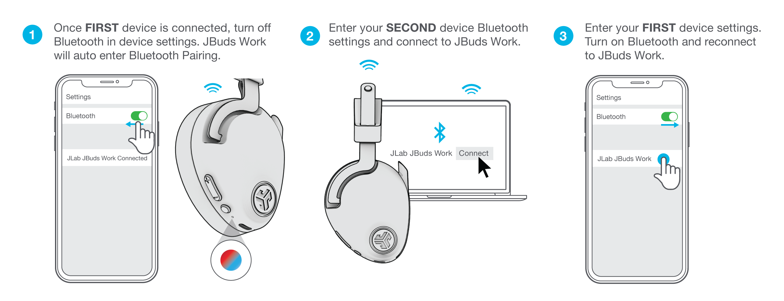 How to use Bluetooth Multipoint Functionality for JBuds Work Wireless Over-Ear Headset
