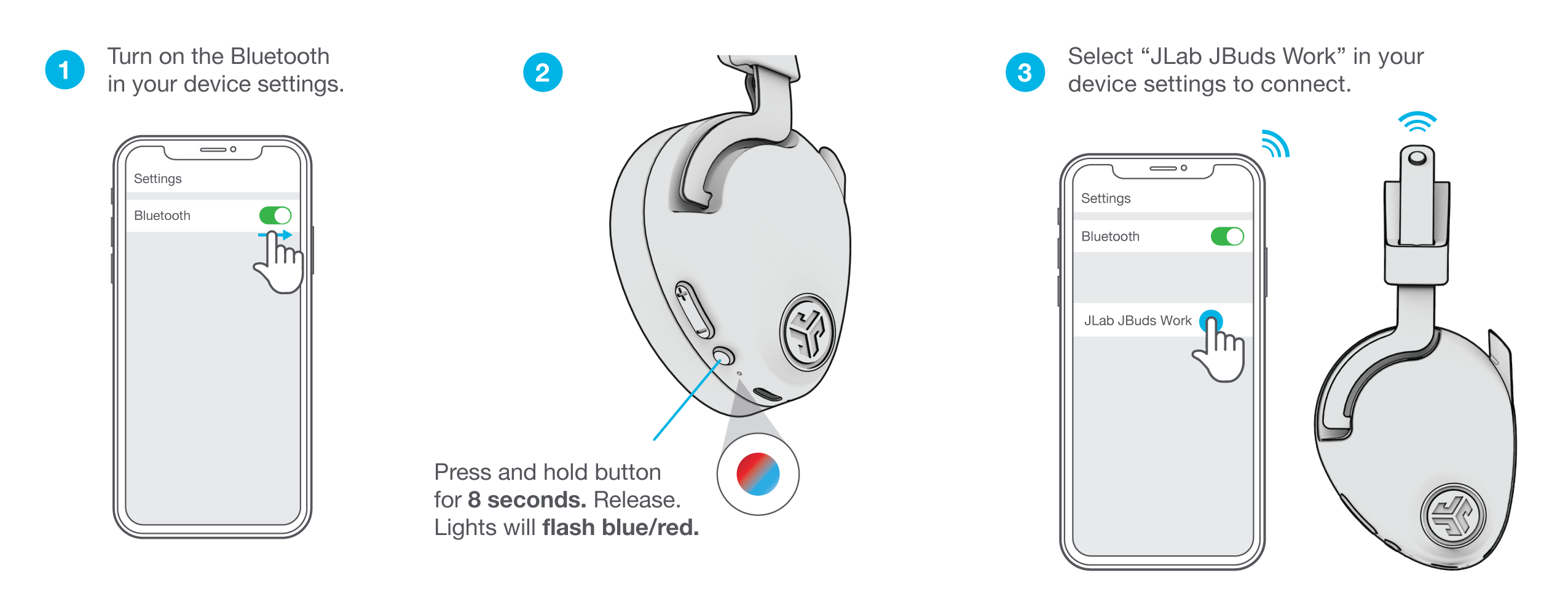 Power & Bluetooth Function for the JBuds Work Wireless Over-Ear Headset