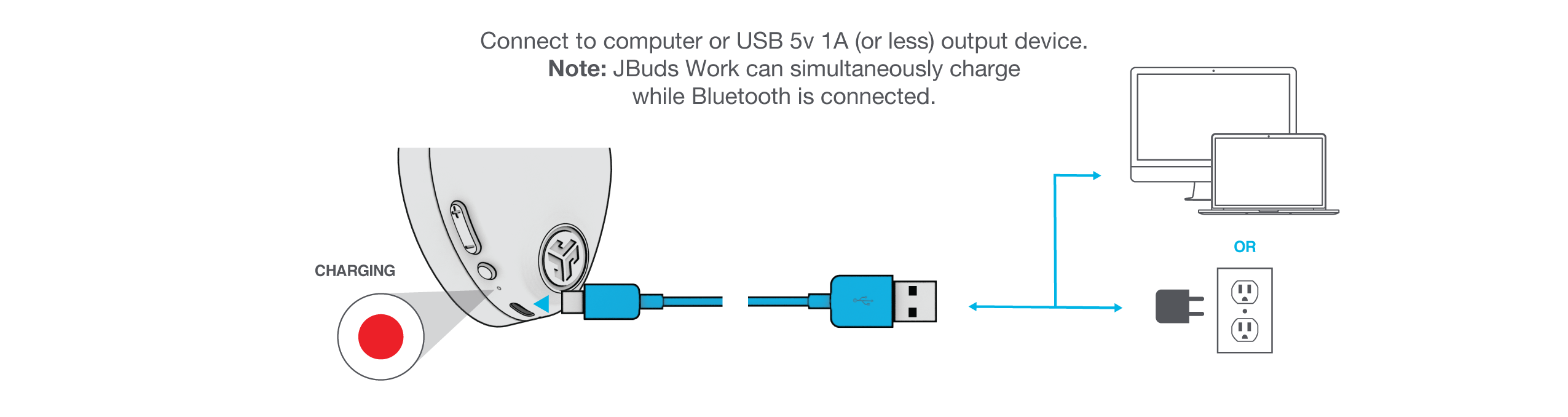 How to charge JBuds Work Wireless Over-Ear Headset