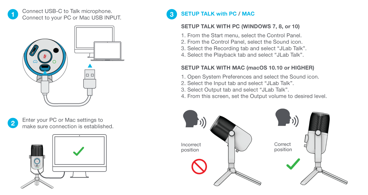 How to set up your Talk Microphone
