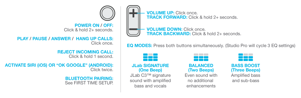 Controls & EQ settings for the Studio Pro Wireless Headphones