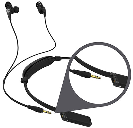 Close-up Diagram of Gravity Neckband Bluetooth Adapter Earbud Plug-In