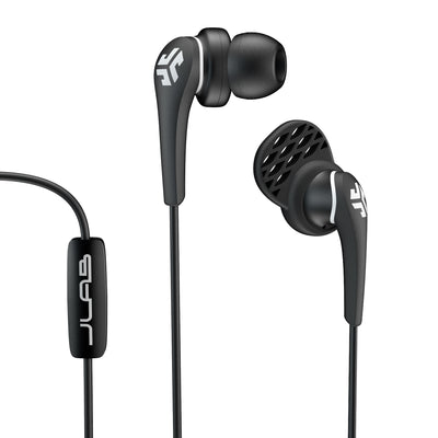Close-up of Black Core Custom Fit Earbuds with Microphone and Cush Fin