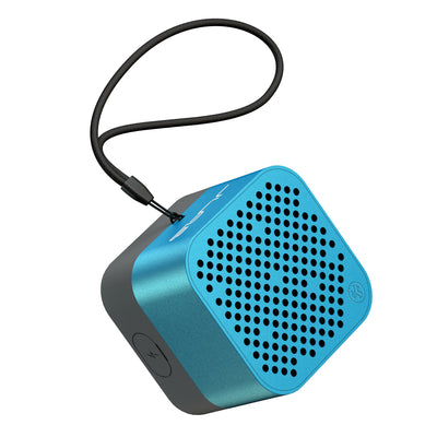 Blue Crasher Micro Bluetooth Speaker Front View with Paracord Strap