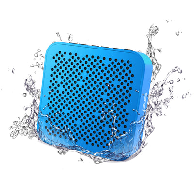 Front View of Blue Crasher Mini Bluetooth Speaker with Water Splashes