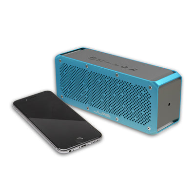 Side View of Blue Crasher XL Bluetooth Speaker with Phone