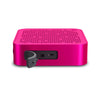 Side View of Pink Crasher Mini Bluetooth Speaker with Open Charging Port