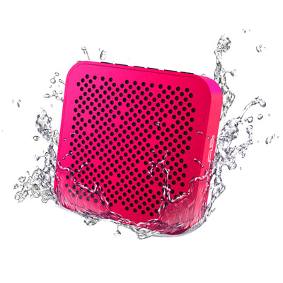 Front View of Pink Crasher Mini Bluetooth Speaker with Water Splashes