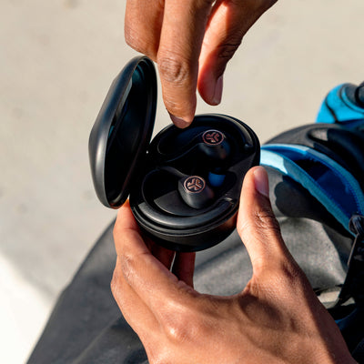JBuds Air Sport True Wireless Earbuds in charging case