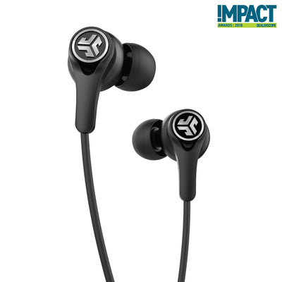 Close-up of Black Epic Executive Wireless Earbuds