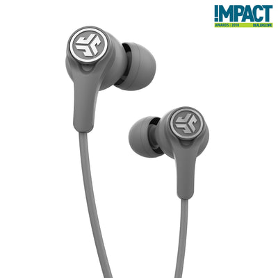 Close-up of Gray Epic Executive Wireless Earbuds