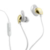 Close-up of Glitter Gold and Cloud Epic Premium Earbuds with Cush Fins Microphone