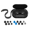 Black Epic Air Elite True Wireless Earbuds in Charging Case Showing Charging Cable and Ear Tip Sizes