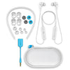White Epic Executive Wireless Earbud Accessories with Neckband, Cush Fins, Ear Tips, AUX Adaptor, and Traveling Case