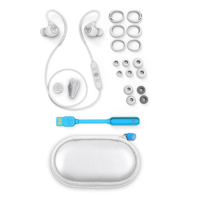 White Epic Sport Earbuds with All Cush Fin and Tip Sizes, Cable Clip, Charger, and Carrying Case