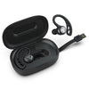 Black Epic Air Sport True Wireless Earbuds in Charging Case Showing Integrated Charging Cable