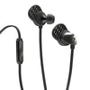 Front and Back Close-up of Black and Graphite Epic Premium Earbuds with Cush Fins and Microphone