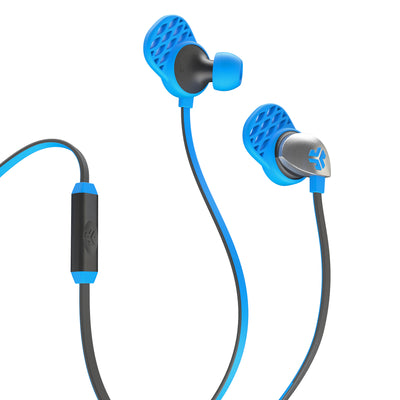 Close-up of Blue and Graphite Epic Premium Earbuds with Microphone