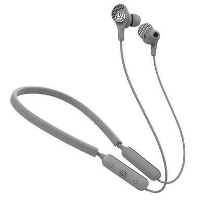 Gray Epic Executive Wireless Earbuds with Controls, Neckband, and Cush Fins