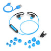 Flat Lay of Black and Blue Fit Sport 2.0 Wireless Fitness Earbuds with All Eartip Sizes, Micro USB Cable, and Shirt Cable Clip