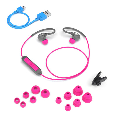 Flat Lay of Gray and Pink Fit Sport 2.0 Wireless Fitness Earbuds with All Eartip Sizes, Micro USB Cable, and Shirt Cable Clip