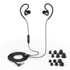 Black Fit 2.0 Sport Earbuds Showing Cable and Ear Tip Sizes