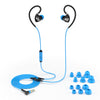 Black and Blue Fit 2.0 Sport Earbuds Showing Cable and Ear Tip Sizes