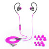 Gray and Pink Fit 2.0 Sport Earbuds Showing Cable and Ear Tip Sizes