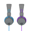 Side profiles of JBuddies Studio Over Ear Folding Headphones in Blue and Purple