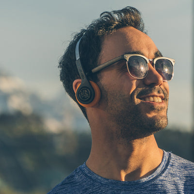 Guy wearing Rewind Wireless Retro Headphones