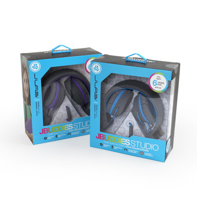 Packaging of JBuddies Studio Over Ear Folding Headphones in Blue and Purple