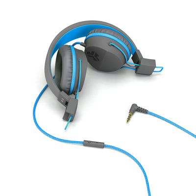 JBuddies Studio Over Ear Folding Headphones in Blue with headphone jack