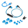 JBuds Elite Bluetooth Earbuds in blue with accessories