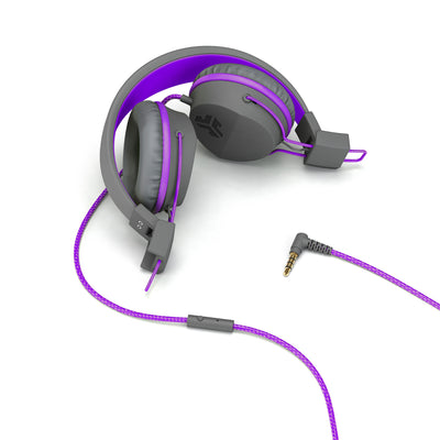 Folded JBuddies Studio Over Ear Folding Headphones in Purple with headphone jack